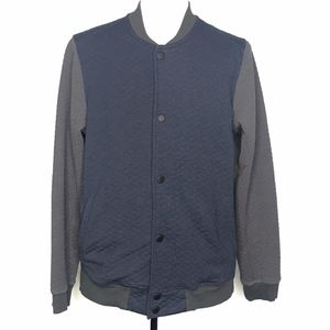 Howe Blue & Gray Quilted Colorblock Jacket A100659
